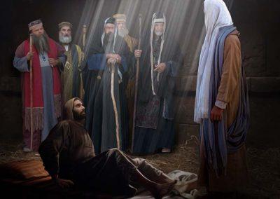 4---Hombre-en-camilla-hablando-con-Jesús-Fariseos-atrás
