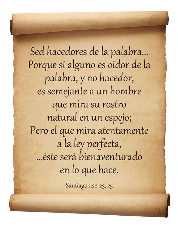 Santiago 1:22, 23 y 25